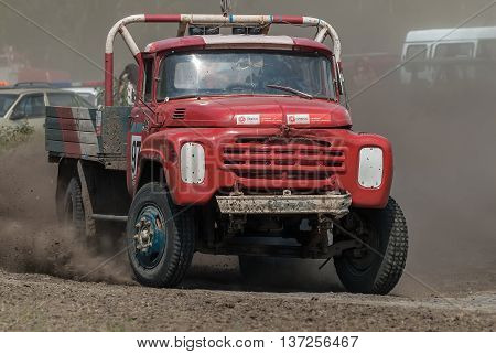 Tyumen, Russia - July 5, 2009: Championship of Russia on truck autocross in the Silkin Ravine. Truck on bend of sports track