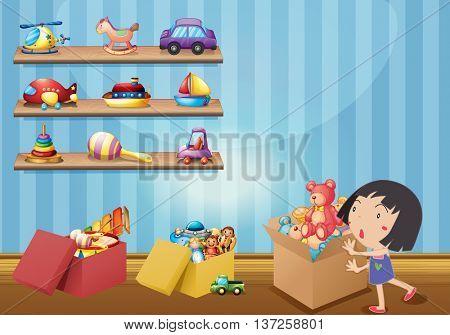 Girl and many toys on shelves illustration