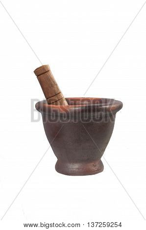 Mortar and pestle Asian kitchenware isolated on white background.