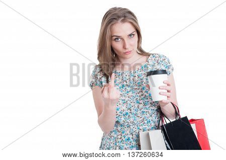 Rebel Shopper Doing Obscene Gesture With Middle Finger
