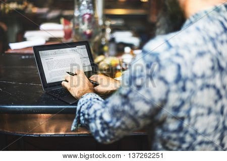 Man Typing Article Columnist Blogger Concept