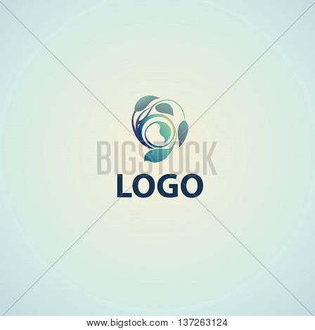 stylized plant enclosed in a circle unusual plant logo on a white background