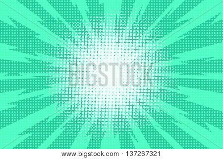 Blue pop art retro background with exploding rays of lightning comic style, vector illustration