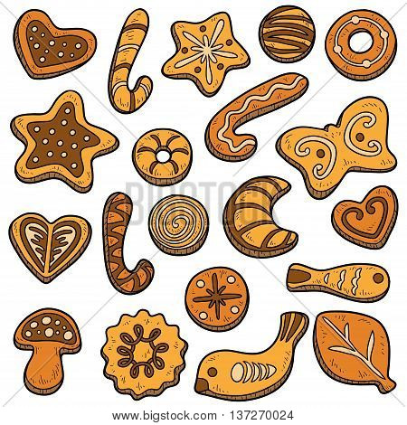 Collection Of Homemade Cookies, Vector Set Of Christmas Baking