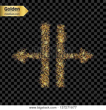 Gold glitter vector icon of Splitter isolated on background. Art creative concept illustration for web, glow light confetti, bright sequins, sparkle tinsel, abstract bling, shimmer dust, foil.