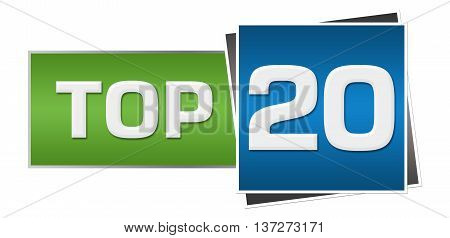 Top 20 text written over green blue background.
