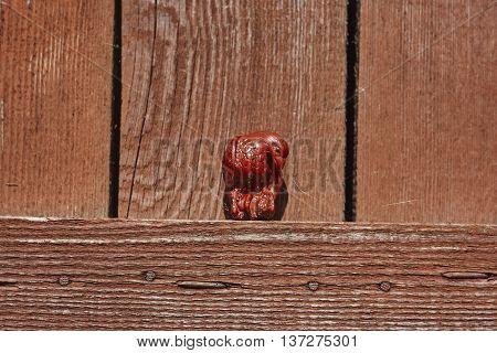 Netsuke eagle with monkey in talons on lumber board wall