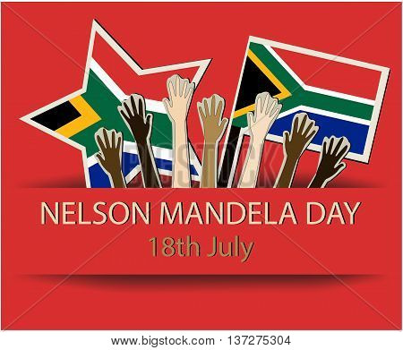 Nelson Mandela day greeting card or background. vector illustration.