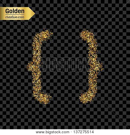 Gold glitter vector icon of curly bracket isolated on background. Art creative concept illustration for web, glow light confetti, bright sequins, sparkle tinsel, abstract bling, shimmer dust, foil.