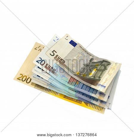 Bunch of Euro banknotes isolated on white.