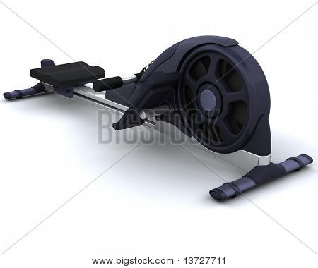3D render of a rowing machine isolated on white