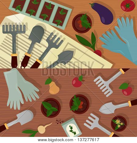 Agricultural and garden accessories or equipment, tools and instruments. Trowel and shovel, radish and eggplant, tomato and carrot, rubber gloves and pot with plants, radish and apple, pear and carrot
