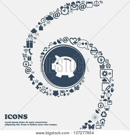 Piggy Bank - Saving Money Icon In The Center. Around The Many Beautiful Symbols Twisted In A Spiral.