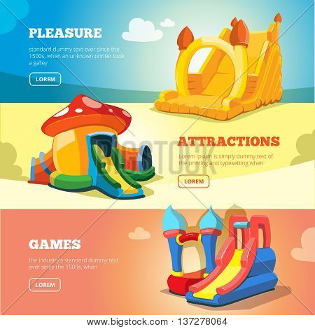 Vector Set of web banners with picture of inflatable castles and children hills on playground.