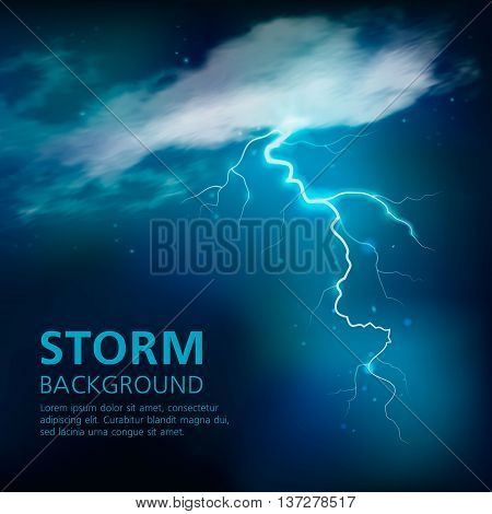 Bolt of lightning background in blue color with illuminated half transparent clouds in night sky vector illustration