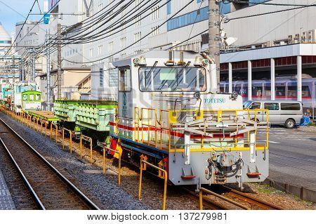TOKYO JAPAN - NOVEMBER 29 2015: A Japan Railway Company's track maintainance train make a stop at Ikebukurostation