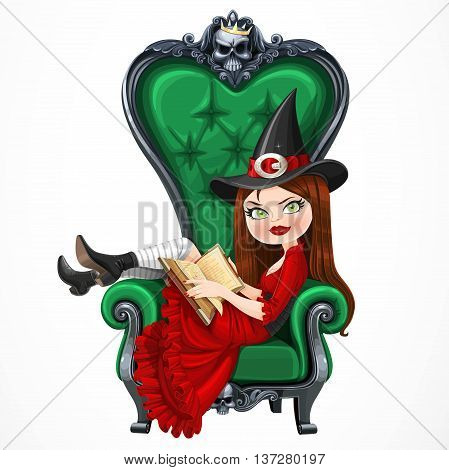 Beautiful witch in red dress sitting in armchair with high back and reading a magic book isolated on a white background