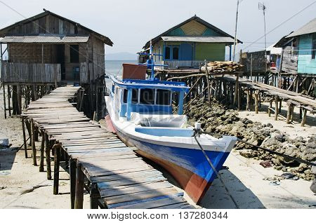 Fisherman's village in Bandar Lampung Sumatra Indonesia