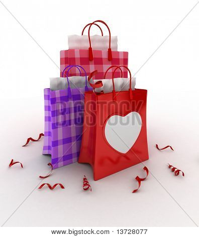 3D Illustration of Valentine-themed Shopping Bags