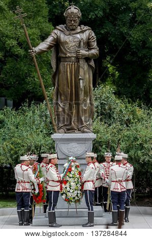 SOFIA BULGARIA - JUNE 8: Guards of Honor placed a wreath of flowers in front of newly opened monument of the Bulgarian Tsar Samuil (997-1014) on June 8 2015 in Sofia.