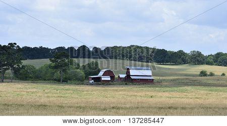 Farm barn house background at rural Georgia, USA.