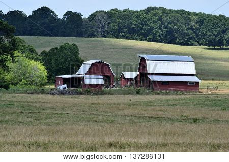 Farm barn house background at rural Georgia, USA.
