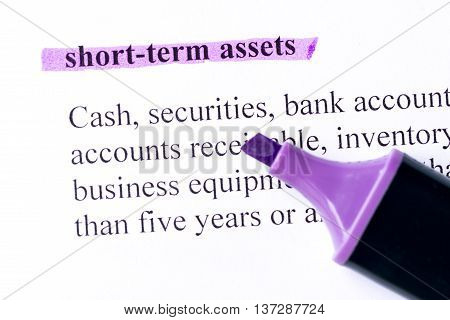 Short Term Assets Word Highlighted