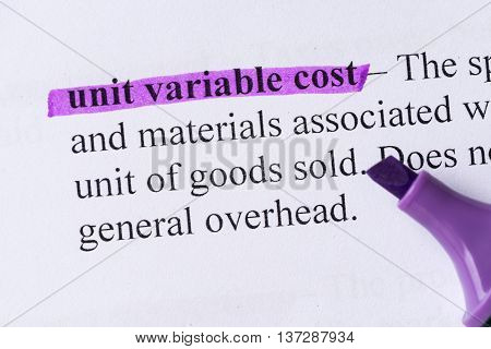 Unit Variable Cost Word Highlighted