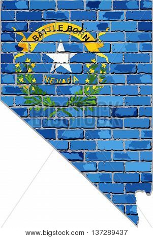 Nevada map on a brick wall - Illustration,   The state of Nevada map with flag inside,  Grunge map and flag state of Nevada on brick textured background,  Nevada flag in brick style