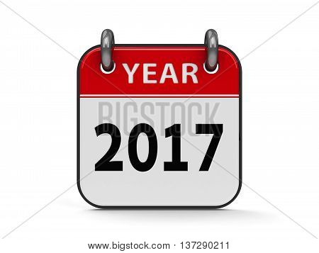 Icon calendar 2017 year isolated on white background three-dimensional rendering 3D illustration