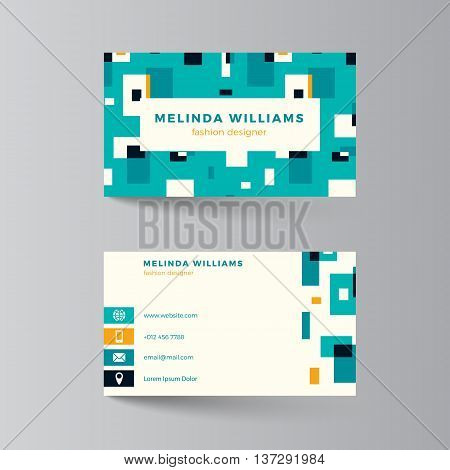 Business card layout. Vector illustration. Turquoise and yellow template. Clean modern business card design with colorful rectangles