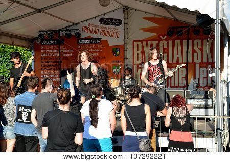 Bytca Slovakia - July 1 2016: Open air concert of rock music band called
