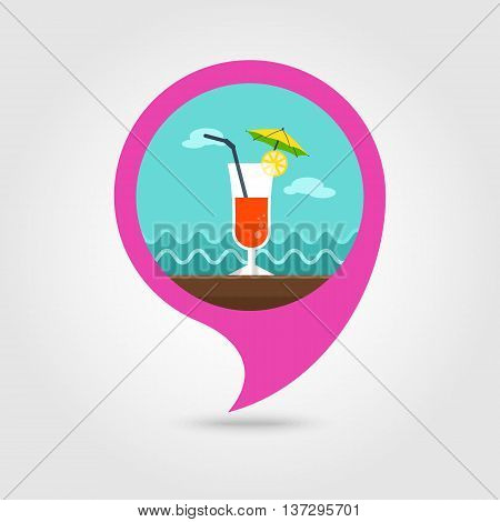 Cocktail vector pin map icon. Beach Map pointer. Summer Map markers. Summertime. Vacation eps 10