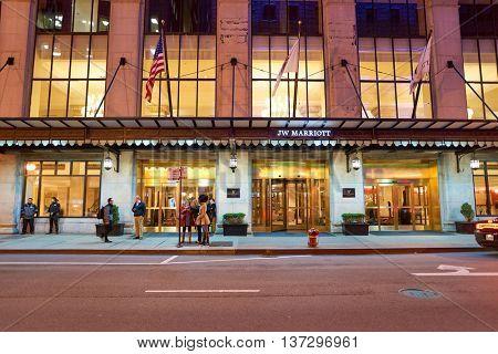 CHICAGO, IL - CIRCA MARCH, 2016: entryway of JW Marriott Hotel. JW Marriott Hotels & Resorts, namesake of John Willard Marriott, Founder of Marriott International is a luxury hotel chain.