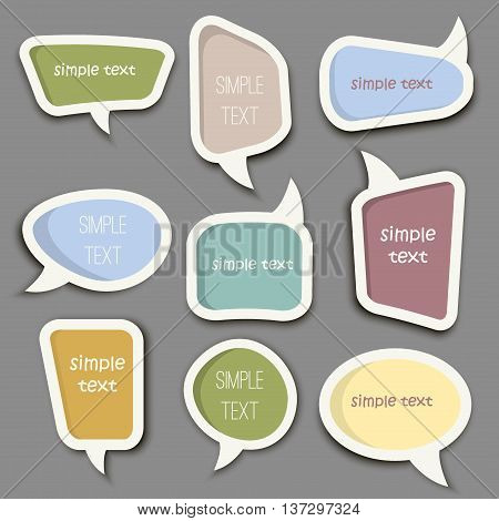 Speech bubble cut paper design template vector illustration for your business presentation. Communication vector message icon speech bubble set. Abstract speak text art, dialog cartoon speech bubble.