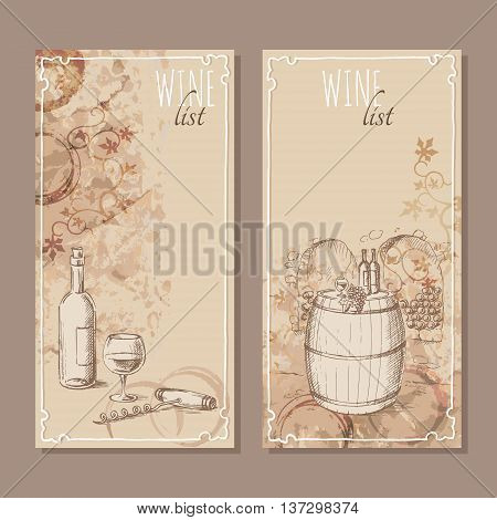 Wine list cards. Menu cards for wine collections with hand drawn sketches. Bottles glass and a corkscrew. Testing wine on a barrel in a cellar. Vector illustration.