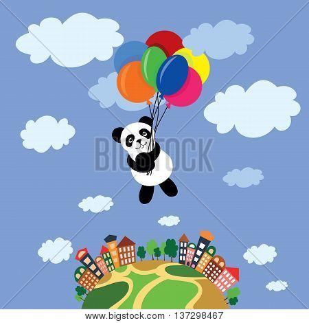 Cute little panda playing with balloons. Panda flies over city. Panda flies above the Earth