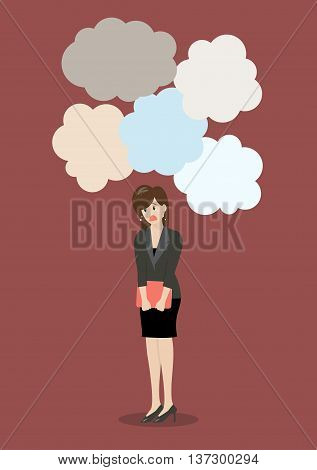 Business woman under a lot of trouble. Business concept