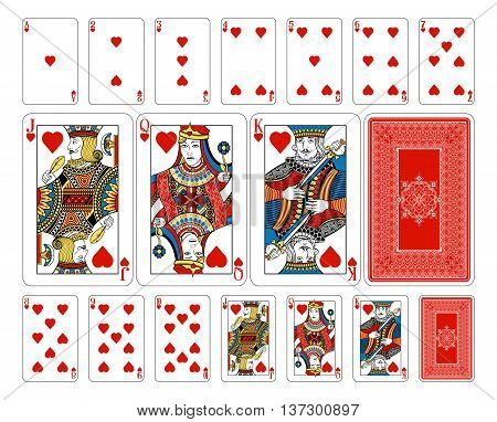 Original playing card deck design. The deck features custom extremely detailed court cards with the appropriate suit symbol worked into the garb of the Jack, Queen and King characters in multiple ways. The joker and ace of spades playing cards feature new