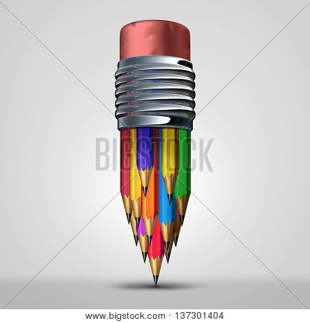 Team planning concept and teamwork diversity cooperation symbol as a group of diverse pencils organized together as an icon for corporate unity as a 3D illustration.