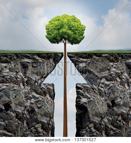 Success concept or rising growth tree in business as a growing plant emerging out of a mountain cliff shaped as an upward arrow as a financial prosperity and investment achievement metaphor in a 3D illusration style.