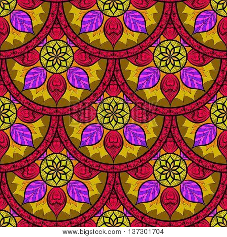 Vector Seamless Color Floral Mandala Pattern. Seamless pattern for your design, invitation card, yoga, meditation, astrology, fabric and other mandala wrapped projects. Pattern in swatches panel.