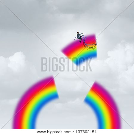 Create your own luck motivation concept as a businessman taking control of a piece of rainbow with a harness flying towards a career or life goal in a 3D illustration style.