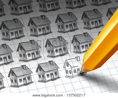 Construction increase and growing residential community concept as a sketch with multiple homes and a pencil drawing more homes as a real estate or housing investment economic activity with 3D illustration elements.