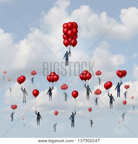 Business wealth concept as a group of people lifted by balloons with an individual businessman with more accumulated floating objects reaching higher with 3D illustration elements.