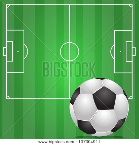 Green soccer background illustration with Realistic ball