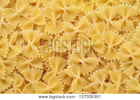 raw farfale pasta background closeup detail view