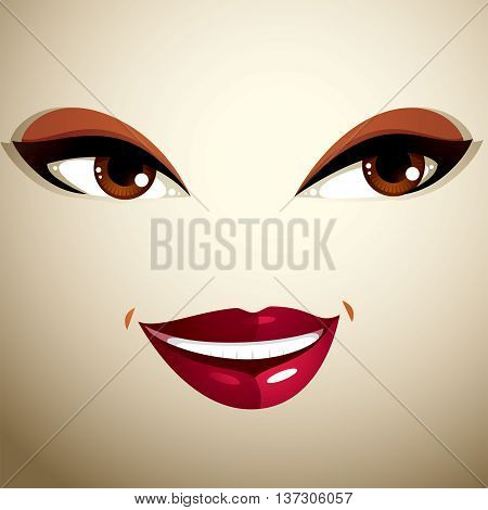 Coquette glad smiling woman eyes and lips stylish makeup. People positive facial emotions happiness.