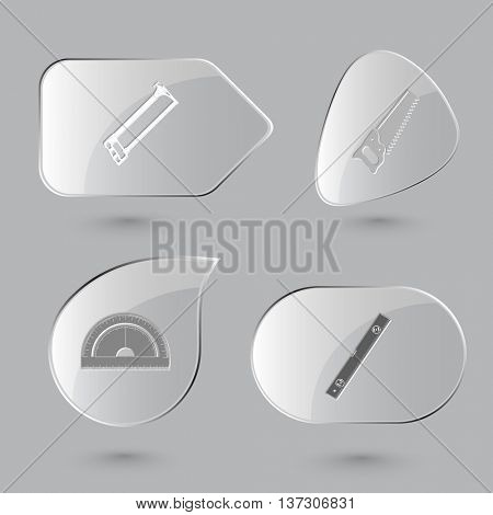 4 images: hacksaws, protractor, spirit level. Industrial tools set. Glass buttons on gray background. Vector icons.