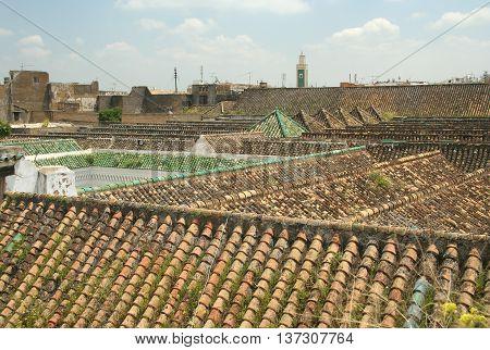 Medina roofs and city panorama, Meekness, Morocco